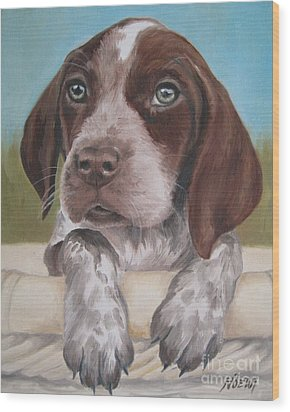 Wood Print featuring the painting German Shorhaired Pointer Puppy by Jindra Noewi