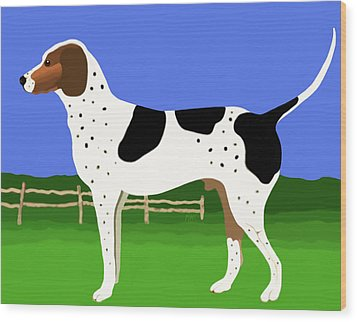 German Shorthaired Pointer In A Field Wood Print by Marian Cates