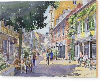 Germany Baden-baden Lange Strasse Wood Print by Yuriy  Shevchuk