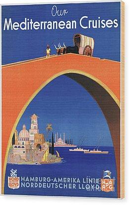 Germany Hamburg Vintage Travel Poster Restored Wood Print by Carsten Reisinger
