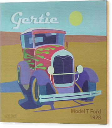 Wood Print featuring the digital art Gertie Model T by Evie Cook