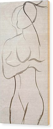 Gestural Nude Sketch Wood Print