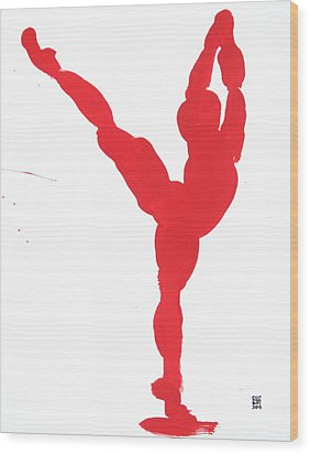 Gesture Brush Red 1 Wood Print by Shungaboy X