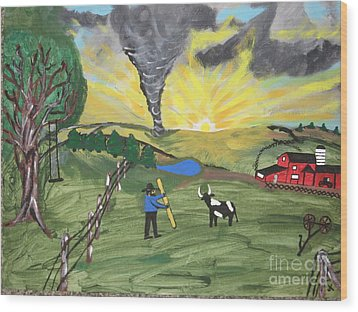 Wood Print featuring the painting Get In The Barn by Jeffrey Koss