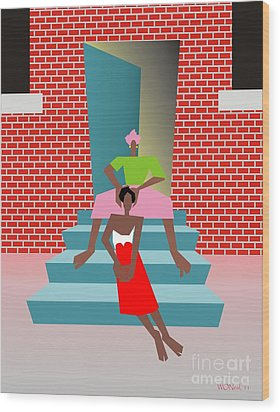 Gettin Her Hair Did Wood Print by Walter Oliver Neal