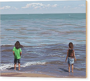 Wood Print featuring the painting Getting Their Feet Wet by Shawna Rowe