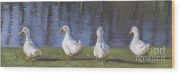 Getting Your Ducks In A Row Wood Print by Terri  Meyer