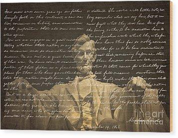 Gettysburg Address Wood Print by Diane Diederich