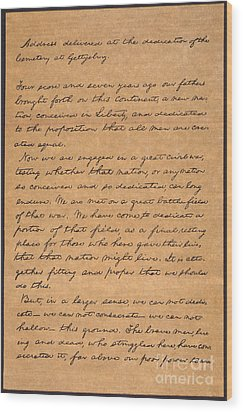 Gettysburg Address Wood Print by Granger