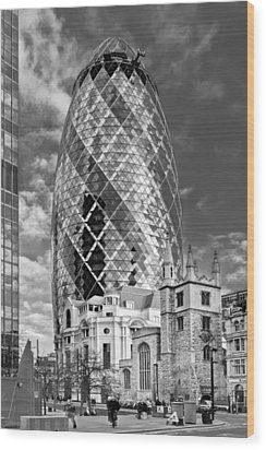 Gherkin And St Andrew's Black And White Wood Print by Gary Eason