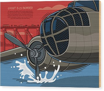Wood Print featuring the digital art Ghost B-25 Bomber by Ron Magnes