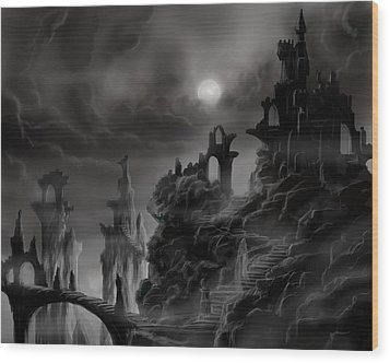Ghost Castle Wood Print by James Christopher Hill
