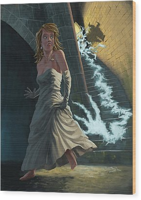 Ghost Chasing Princess In Dark Dungeon Wood Print by Martin Davey