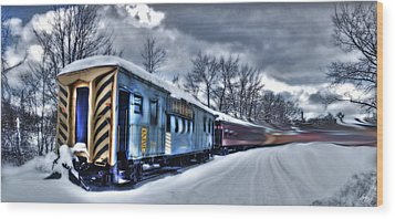Ghost Train In An Existential Storm Wood Print