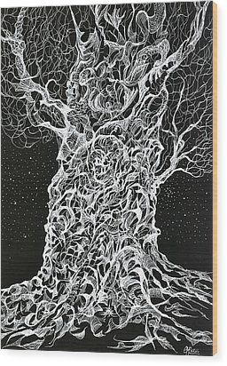 Ghost Tree Wood Print by Charles Cater
