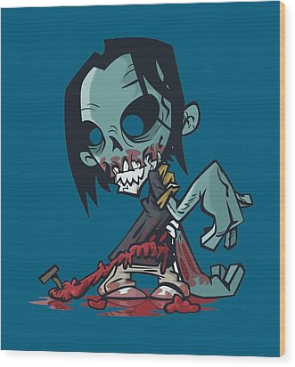 Ghoul T-shirt Wood Print by Herb Strobino
