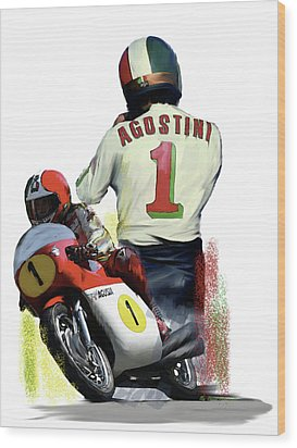 Wood Print featuring the painting Giacomo Agostini  Ago by Iconic Images Art Gallery David Pucciarelli