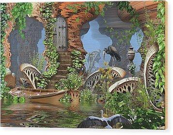 Giant Mushroom Forest Wood Print