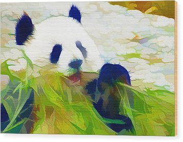 Wood Print featuring the painting Giant Panda Bear Eating Bamboo by Lanjee Chee