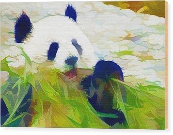 Giant Panda Bear Eating Bamboo Wood Print by Lanjee Chee