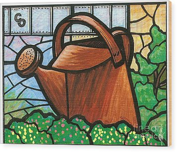 Wood Print featuring the painting Giant Watering Can Staunton Landmark by Jim Harris