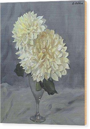 Giant White Dahlias In Wine Glass Wood Print