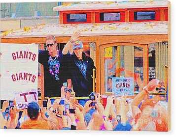 Giants 2010 Champions Parade 2 . Photo Artwork Wood Print by Wingsdomain Art and Photography