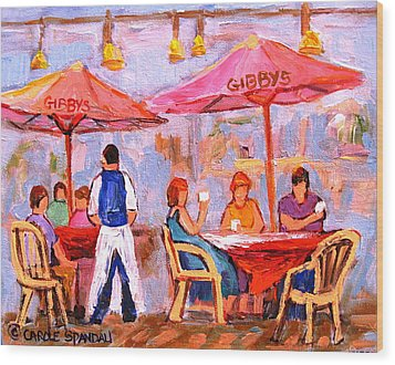 Wood Print featuring the painting Gibbys Cafe by Carole Spandau