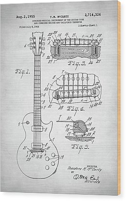 Wood Print featuring the digital art Gibson Les Paul Electric Guitar Patent by Taylan Apukovska