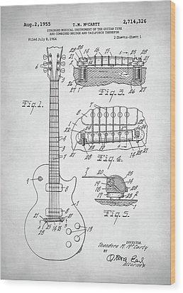 Gibson Les Paul Electric Guitar Patent Wood Print by Taylan Apukovska