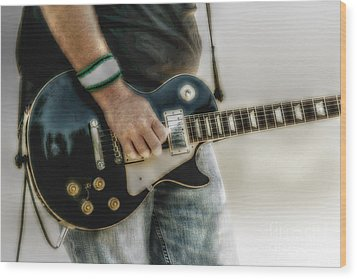 Gibson Les Paul Guitar Player Two Wood Print by Randy Steele