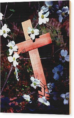 Gift Cross And Dogwood Wood Print