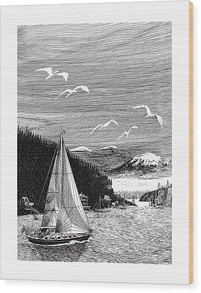 Gig Harbor Sailing School Wood Print by Jack Pumphrey