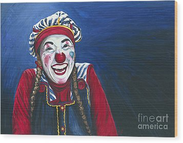 Giggles The Clown Wood Print by Patty Vicknair