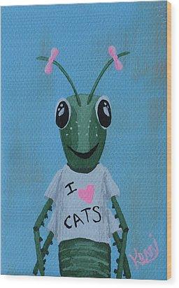 Gigi The Grasshopper's School Picture Wood Print by Kerri Ertman