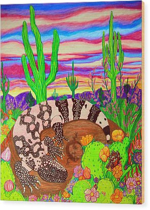 Gila Monster In Desert Wood Print by Nick Gustafson