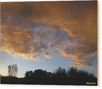 Wood Print featuring the photograph Gilded Cloud Bellies Above The Western Skyline by Anastasia Savage Ealy