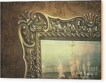 Gilded Mirror Reflection Of Chandelier Wood Print by Sandra Cunningham