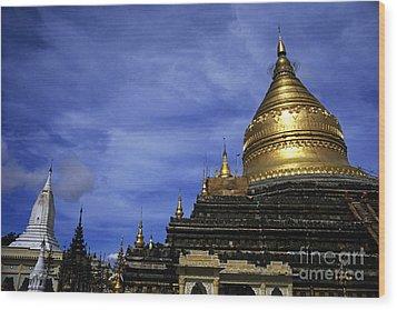 Gilded Stupa Of The Shwezigon Pagoda In Bagan Wood Print by Sami Sarkis