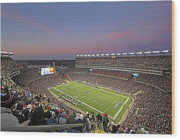 Gillette Stadium In Foxboro  Wood Print by Juergen Roth