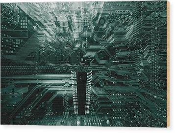 Wood Print featuring the photograph Ginat Microchip Hovering Above Circuit-board by Christian Lagereek
