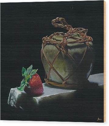 Ginger Jar And Strawberry Wood Print by Jeffrey Hayes