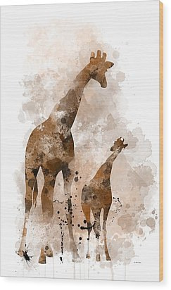 Giraffe And Baby Wood Print by Marlene Watson