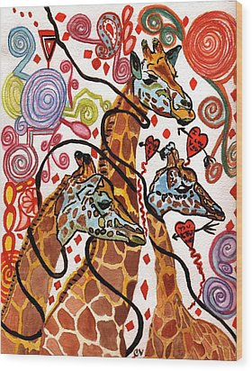 Giraffe Birthday Party Wood Print