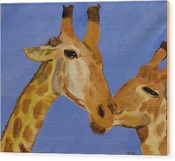 Giraffe Bonding Wood Print