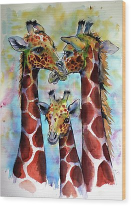 Wood Print featuring the painting Giraffe Family by Kovacs Anna Brigitta