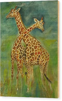 Lovely Giraffe . Wood Print