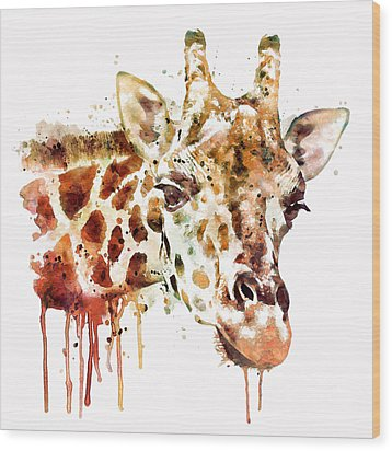 Giraffe Head Wood Print by Marian Voicu
