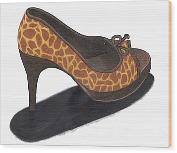 Wood Print featuring the drawing Giraffe Heels by Jean Haynes