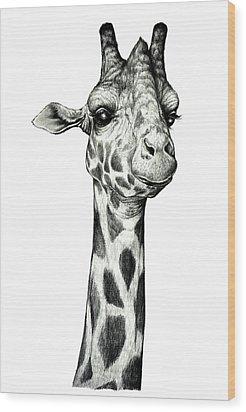 Giraffe Wood Print by Heidi Kriel